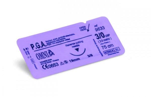 P.G.A. Nahtmaterial 45 cm 6/0 Super Schneidend 10 mm 3/8 kreisförmig Schneidend