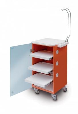 LC Implant Suite mit 3 ausziehbaren Fachböden (Farbe Orange)