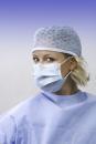 Mundschutz 3 lagig mit runden anallergischen Elastikbändern - Hellblau